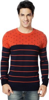 Van Heusen Striped Round Neck Sports Men's Orange Sweater
