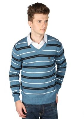 Again Striped V-neck Casual Men's Grey Sweater
