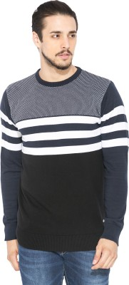 Status Quo Striped Round Neck Casual Men's Dark Blue Sweater