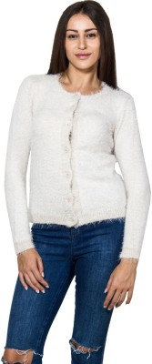 Lee Marc Solid Round Neck Casual Women's White Sweater