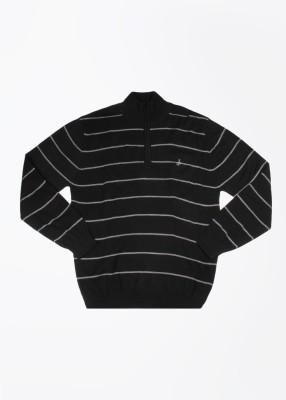 John Players Striped Turtle Neck Casual Men's Black, Grey Sweater