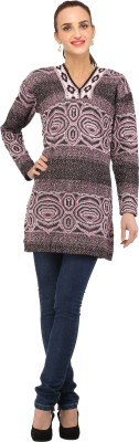 Stylistry Striped Turtle Neck Casual Women's Brown Sweater