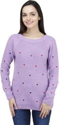 Camey Self Design Round Neck Women's Purple Sweater