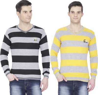 Alay Striped V-neck Casual, Party, Formal, Sports, Lounge Wear, Festive Men's Black, Yellow Sweater
