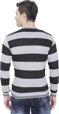 Alay Striped V-neck Casual Men's Purple Sweater