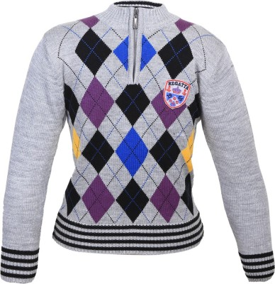 Duke Stardust Checkered Round Neck Casual Women's Grey Sweater