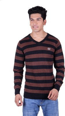 Ogarti Solid, Striped V-neck Casual Men,s Black, Brown Sweater