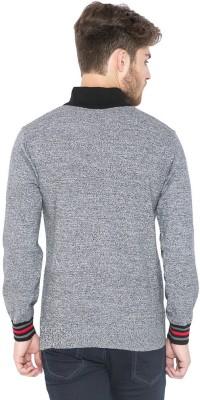 Status Quo Solid Round Neck Casual Men's Black Sweater