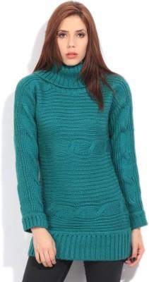 Elle Self Design Turtle Neck Casual Women's Green Sweater