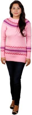 Fashion Club Solid Round Neck Women's Pink Sweater