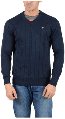 Reveller Striped V-neck Casual Men's Dark Blue Sweater