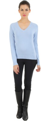 FashionHaven Solid Round Neck Casual Women's Blue Sweater