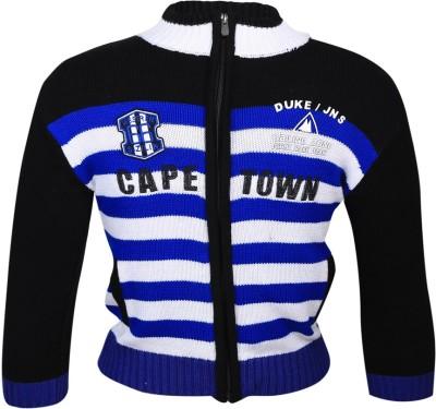 Duke Striped Round Neck Casual Girl's Blue Sweater