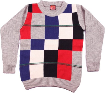 Kidax Checkered Round Neck Casual, Festive, Party Boy's Multicolor Sweater