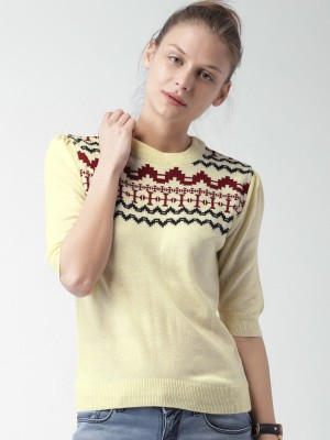 Mast & Harbour Self Design Round Neck Casual Women,s White Sweater