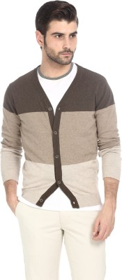 Basics Striped V-neck Casual Men's Brown Sweater