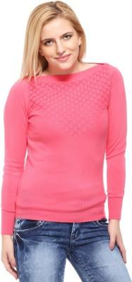 Fasnoya Self Design Round Neck Casual Women's Pink Sweater