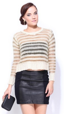 D Muse by DressBerry Woven Round Neck Casual Women's Beige Sweater