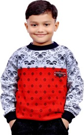 AD & AV Printed Round Neck Casual Boys Red Sweater