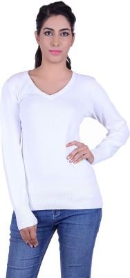 Deutz Solid V-neck Casual Women's White Sweater