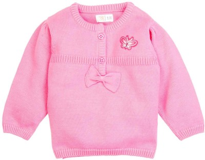 Mom & Me Solid Round Neck Casual Girl's Pink Sweater