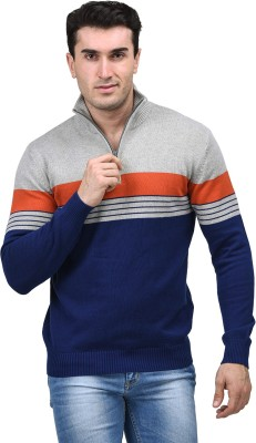 Mettle Striped Turtle Neck Men's Blue Sweater