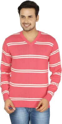 Fizzaro Striped V-neck Casual Men's Pink, White Sweater