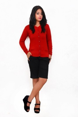 Popkins Solid Round Neck Formal, Casual Women's Red Sweater