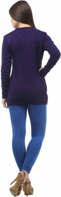 Stylistry Striped V-neck Casual Women's Dark Blue Sweater