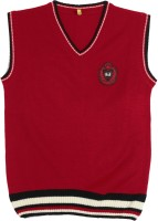 Gini & Jony Solid V-neck Casual Boys Red sweater best price on Flipkart @ Rs. 549