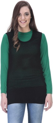 90 WEST Solid Round Neck Casual Women's Black Sweater