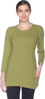 CLUB YORK Self Design Round Neck Casual Women's Green Sweater