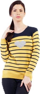 Pazaro Striped Round Neck Casual Women,s Yellow Sweater