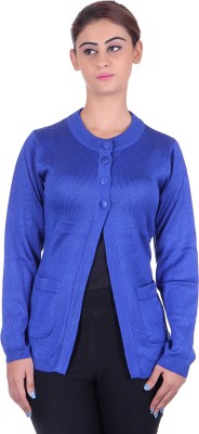 eWools Solid Round Neck Casual Women's Blue Sweater