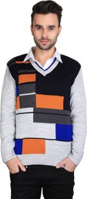 BRAVEZI Self Design V-neck Casual Men,s Silver, Blue, Orange Sweater