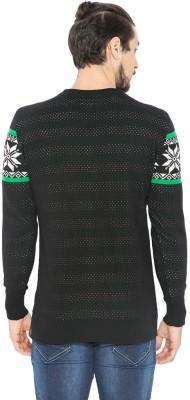 Status Quo Self Design Round Neck Casual Men's Black Sweater