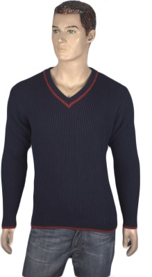 Nolex Self Design V-neck Casual Men's Blue, Maroon Sweater