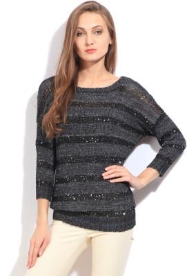 Arrow Striped Round Neck Casual Women's Black, Grey Sweater