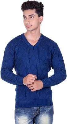 Pierre Carlo Argyle, Solid V-neck Casual Men's Blue Sweater