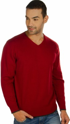 Provogue Solid V-neck Casual Men's Maroon Sweater