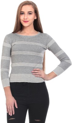 Saiints Striped Crew Neck Casual Women's Grey Sweater