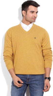 American Swan Solid Casual Men's Yellow Sweater