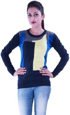 Pazaro Solid Round Neck Casual Women's Blue Sweater