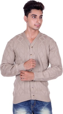 Pierre Carlo Argyle, Solid V-neck Casual Men's Beige Sweater