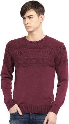Mast & Harbour Self Design Round Neck Casual Men Pink Sweater