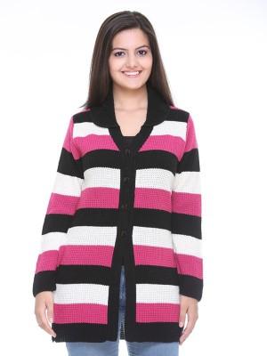 Cee-For Striped V-neck Casual Women's Multicolor Sweater