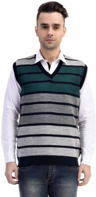 CLUB AVIS USA Striped V-neck Casual Men's Grey Sweater