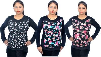 Cluster Self Design Round Neck Women's Multicolor Sweater