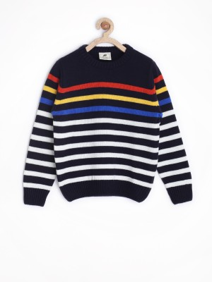 Yk Striped Round Neck Casual Baby Girl,s Dark Blue Sweater