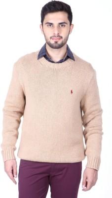 ralph lauren polo Solid Round Neck Casual Men's Beige Sweater